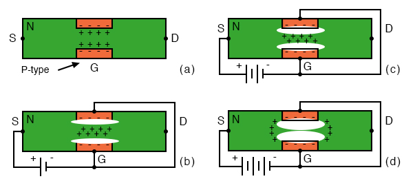 N-channel JFET: (a) Depletion at gate diode. (b) Reverse biased gate diode increases depletion region. (c) Increasing reverse bias enlarges depletion region. (d) Increasing reverse bias pinches-off the S-D channel.