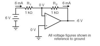 negative feedback through a voltage divider diagram