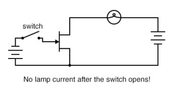 no lamp current after switch open