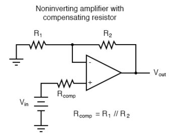 noninverting amplifier with compensating resistor