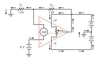 null detector potentiometer model of the op amp