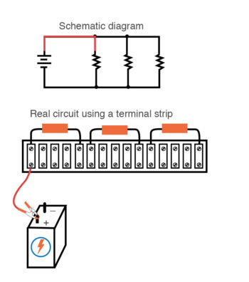 one side battery first component schematic