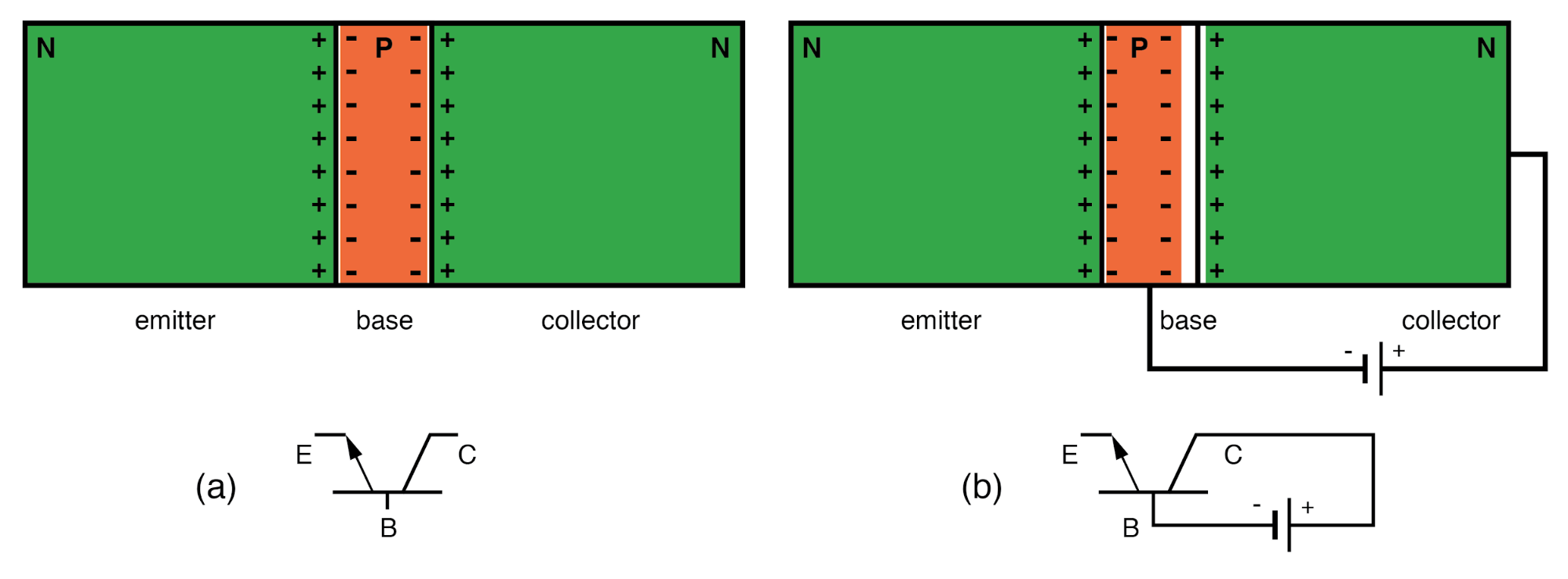 (a) NPN junction bipolar transistor. (b) Apply reverse bias to collector base junction.