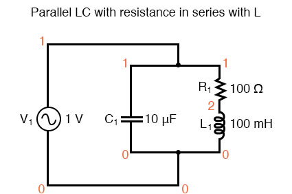 Parallel LC circuit with resistance in series with L.