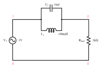 parallel resonant band stop filter