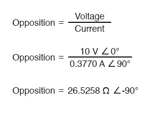phase angle capacitors reactive opposition to current equation