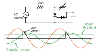 phase shifted signal triggers SCR into conduction