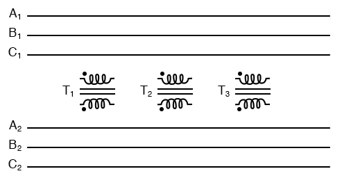 "Inputs A1, A2, A3 may be wired either ""Δ"" or ""Y"", as may outputs B1, B2, B3."