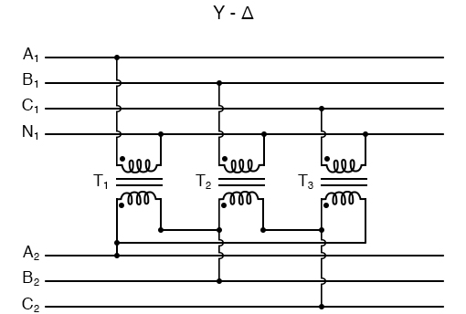 """Phase wiring for """"Y-Δ"""" transformer."""