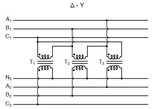 """Phase wiring for """"Δ-Y"""" transformer."""