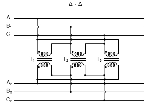 """Phase wiring for """"Δ-Δ"""" transformer."""