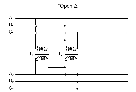 """V"" or ""open-Δ"" provides 2-φ power with only two transformers."
