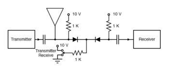 pin diode tr switch disconnects receiver from antenna during transmit