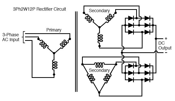 Polyphase rectifier circuit: 3-phase 2-way 12-pulse (3Ph2W12P)