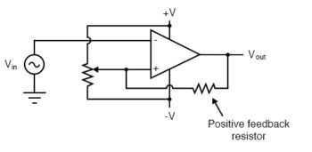positive feedback to the comparator circuit