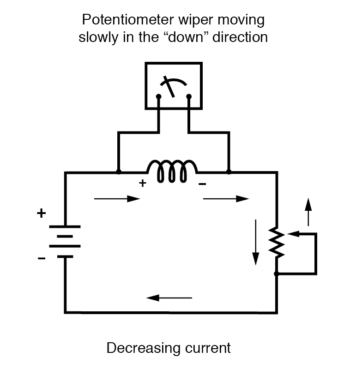 potentiometer wiper decreasing current