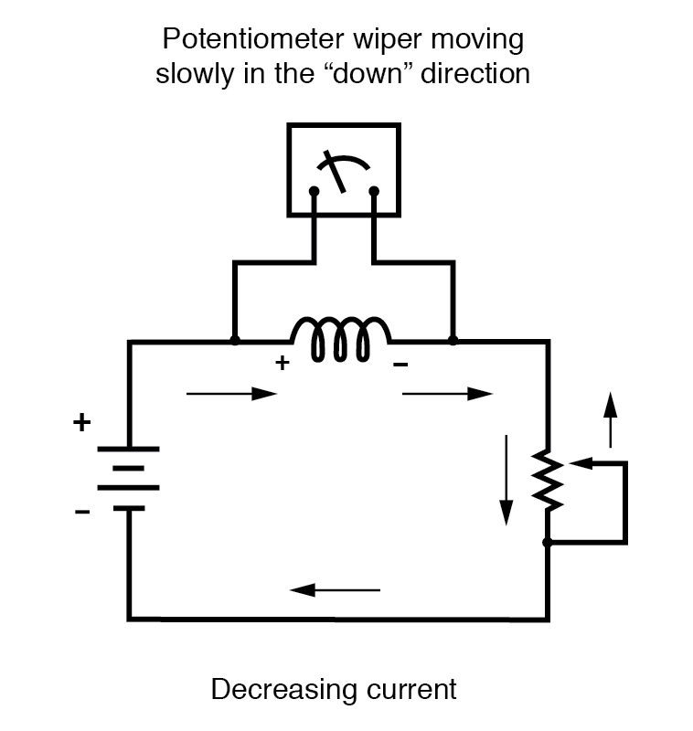 potentiometer wiper decreasing current