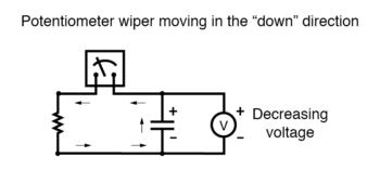 potentiometer wiper moving in the down direction