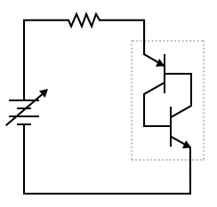 Powered Shockley diode equivalent circuit.