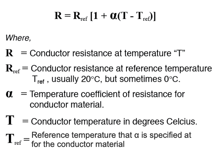 values for conductors at any temperature other than the standard temperature (usually specified at 20 Celsius) on the specific resistance table must be determined through yet another formula