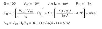 required collector feedback bias resistor calculation