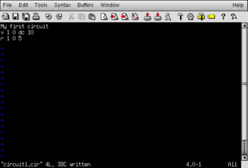 resistor connected between nodes text editor program