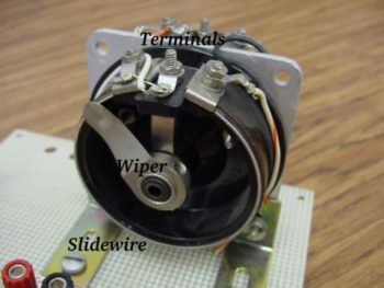 rotary potentiometer with exposed wiper and slidewire