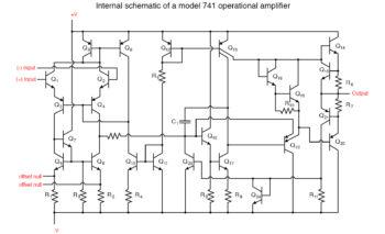 schematic diagram of a model 741 op amp