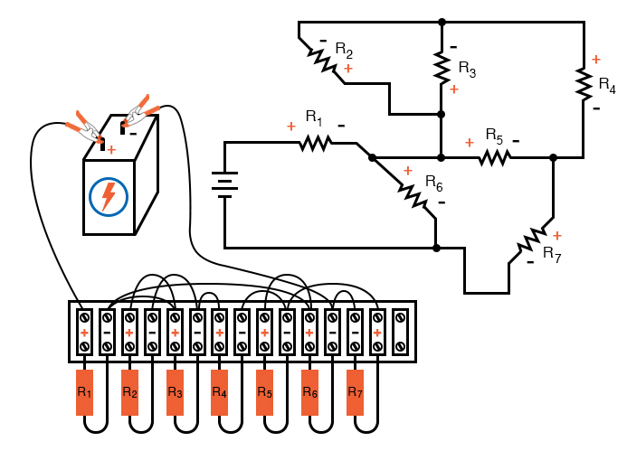 schematic diagram shown next to terminal strip circuit image