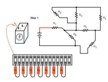 schematic diagram shown next to terminal strip circuit step1