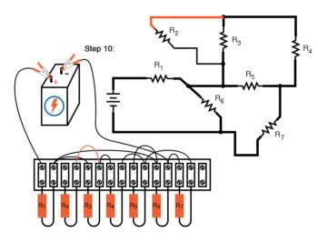 schematic diagram shown next to terminal strip circuit step10