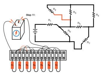 schematic diagram shown next to terminal strip circuit step11