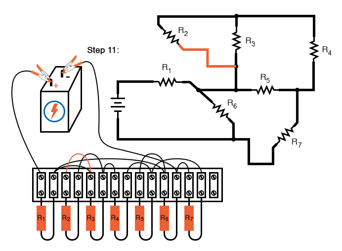 schematic diagram shown next to terminal strip circuit
