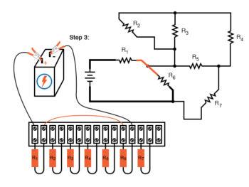 schematic diagram shown next to terminal strip circuit step3