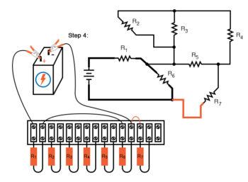 schematic diagram shown next to terminal strip circuit step4