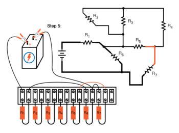 schematic diagram shown next to terminal strip circuit step5