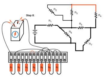 schematic diagram shown next to terminal strip circuit step8