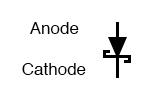 Schottky diode schematic symbol.