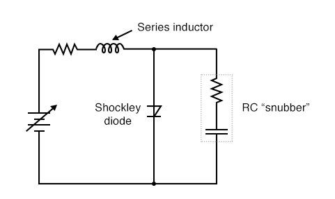 "Both the series inductor and parallel resistor-capacitor ""snubber"" circuit help minimize the Shockley diode's exposure to excessively rising voltage."