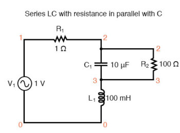 series lc resonant circuit with resistance in parallel with c