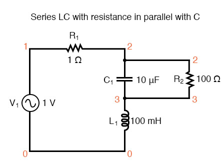Series LC resonant circuit with resistance in parallel with C.