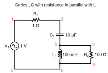 series lc resonant circuit with resistance in parallel with l