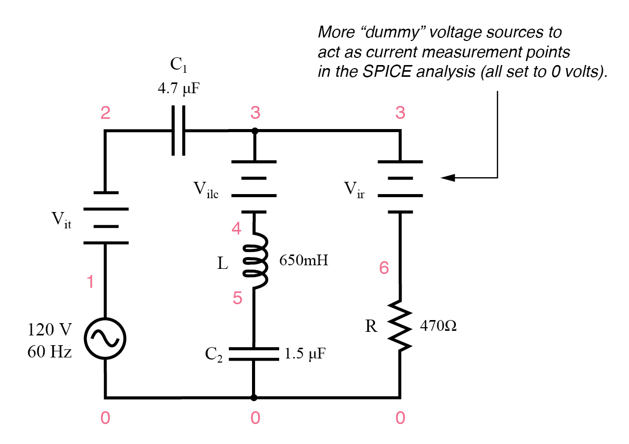 series-parallel rlc spice circuit