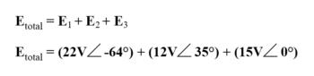 setup for equation to find total voltage