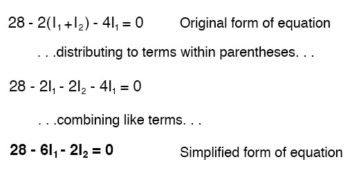 simplified form of equation