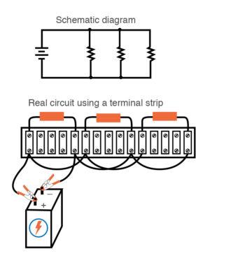 single battery three resistors parallel circuit terminal strip