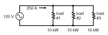 single phase system with three loads