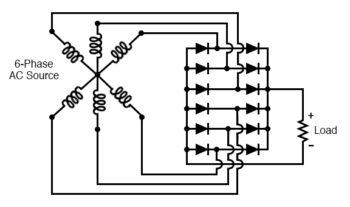 six phase full waive bridge rectifier circuit