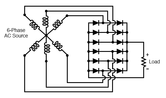 Six-phase full-wave bridge rectifier circuit.