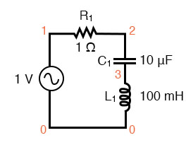Series resonant circuit suitable for SPICE.
